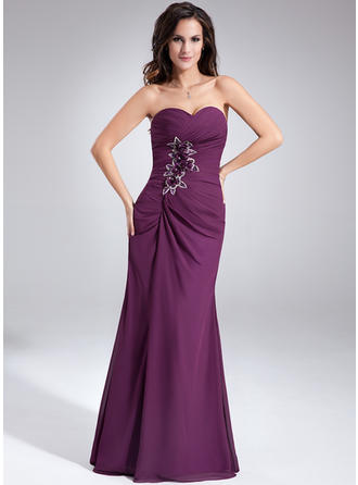 Sheath/Column Sweetheart Chiffon Sleeveless Floor-Length Ruffle Beading Flower(s) Evening Dresses (017020638)
