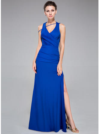 Sheath/Column Scalloped Neck Floor-Length Evening Dresses With Ruffle Beading Split Front