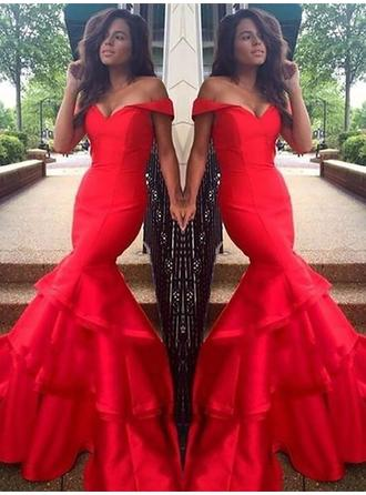 Trumpet/Mermaid Off-the-Shoulder Sweep Train Prom Dresses With Cascading Ruffles