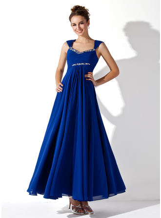 A-Line/Princess V-neck Ankle-Length Prom Dresses With Ruffle Beading