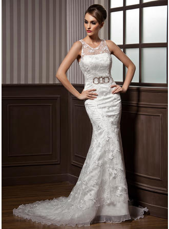 Simple Court Train Trumpet/Mermaid Wedding Dresses Scoop Satin Organza Lace Sleeveless