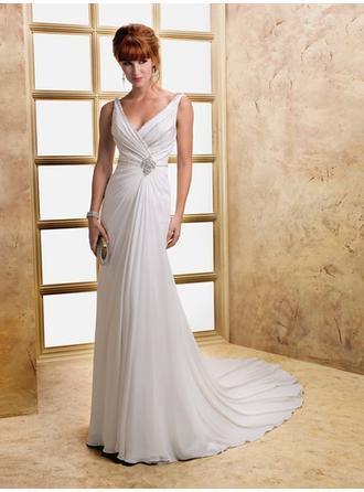A-Line/Princess V-neck Court Train Wedding Dresses With Ruffle Beading Crystal Brooch