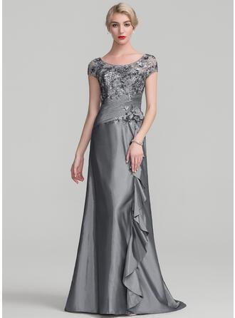 A-linjeformat Rund-urringning Sweep släp Taft Paljetterad Aftonklänning med Beading Blomma (or) Paljetter Svallande Krås
