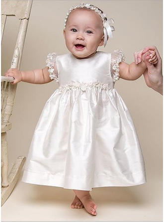 Scoop Neck A-Line/Princess Flower Girl Dresses Lace Lace Short Sleeves Ankle-length