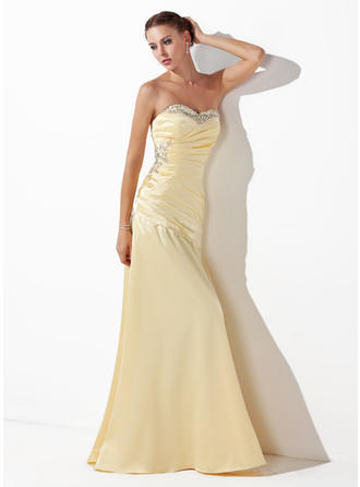 Charmeuse Sleeveless A-Line/Princess Prom Dresses Sweetheart Ruffle Beading Sequins Floor-Length