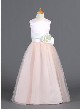 A-Line/Princess Scoop Neck Floor-length With Ruffles/Sash/Flower(s)/Bow(s) Satin/Tulle Flower Girl Dress