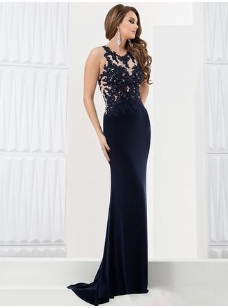 Sheath/Column Scoop Neck Sweep Train Evening Dresses With Lace Beading