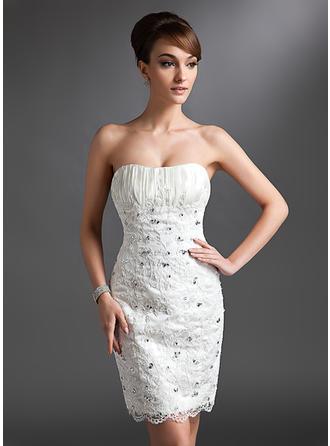 Etui-Linie Herzausschnitt Knielang Spitze Brautkleid mit Rüschen Perlen verziert