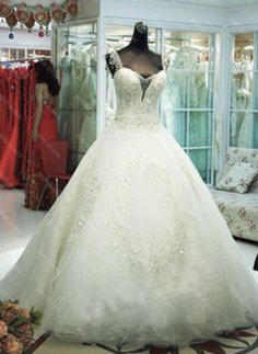 Ball-Gown Sweetheart Chapel Train Wedding Dress With Beading Appliques Lace Sequins