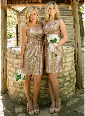 Bridesmaid Dresses One-Shoulder V-neck A-Line/Princess Sleeveless Knee-Length