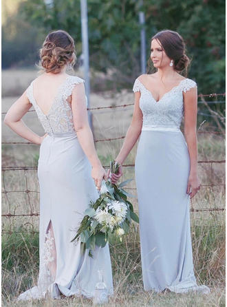 Chiffon Lace Sleeveless Trumpet/Mermaid Bridesmaid Dresses V-neck Sweep Train