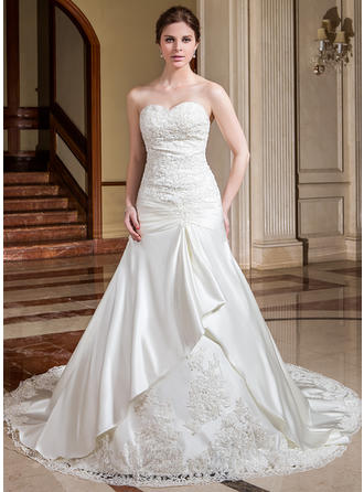 A-Line/Princess Cathedral Train Wedding Dress With Ruffle Lace Beading Flower(s)