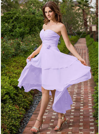 Bridesmaid Dresses Sweetheart Chiffon A-Line/Princess Sleeveless Asymmetrical