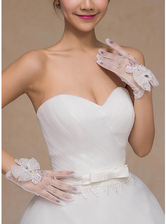 Lace Bridal Gloves Fingertips 24cm(Approx.9.45inch) 18cm(Approx.7.09inch) Gloves
