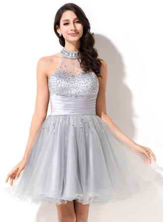 Gorgeous Tulle Sleeveless Scoop Neck Beading Sequins Homecoming Dresses