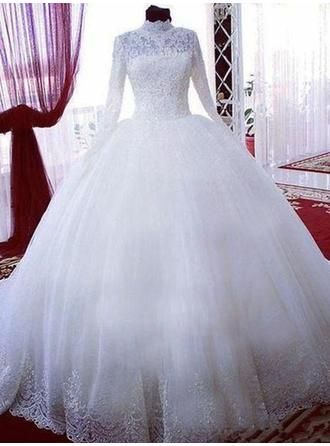 Stunning Chapel Train Ball-Gown Wedding Dresses High Neck Tulle Long Sleeves