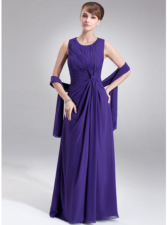 A-Line/Princess Scoop Neck Floor-Length Chiffon Mother of the Bride Dress With Ruffle