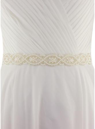 Women Satin With Imitation Pearls Sash Beautiful Sashes & Belts