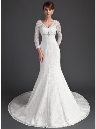 Trumpet/Mermaid V-neck Chapel Train Lace Wedding Dress With Beading