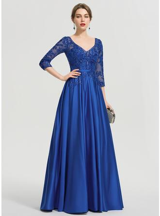 Ball-Gown/Princess V-neck Floor-Length Satin Evening Dress With Sequins