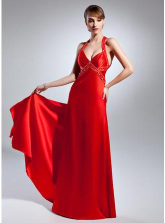 A-Line/Princess V-neck Floor-Length Charmeuse Prom Dress With Beading