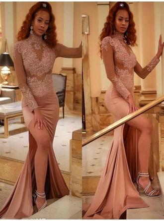 High Neck Appliques Split Front Stretch Crepe Glamorous Evening Dresses
