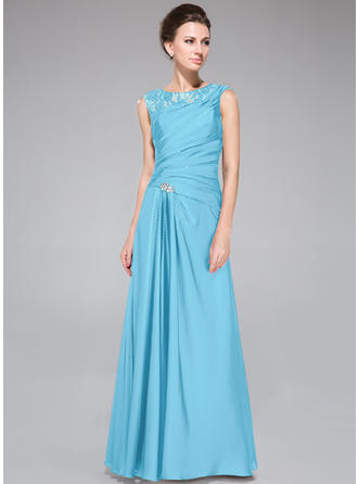 Lace Satin Chiffon Sleeveless Mother of the Bride Dresses Scoop Neck A-Line/Princess Ruffle Beading Floor-Length