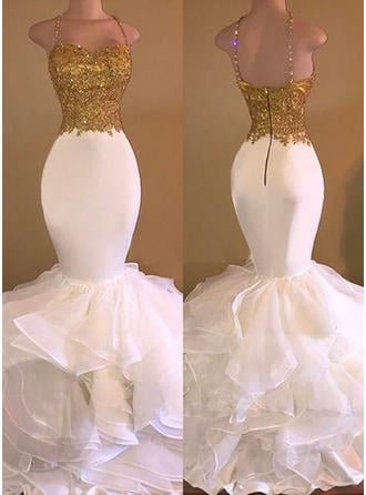Trumpet/Mermaid V-neck Floor-Length Prom Dresses With Beading Appliques