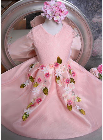 Ball Gown V-neck Knee-length With Flower(s)/Bow(s)/Rhinestone Tulle/Lace Flower Girl Dresses