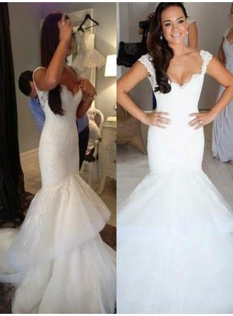 Chapel Train Trumpet/Mermaid With Organza V-neck Wedding Dresses