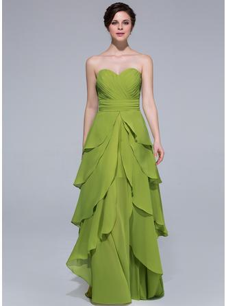 A-Line/Princess Sweetheart Floor-Length Chiffon Prom Dress With Cascading Ruffles