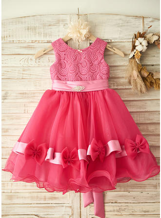 Princess Knee-length A-Line/Princess Flower Girl Dresses Scoop Neck Sleeveless