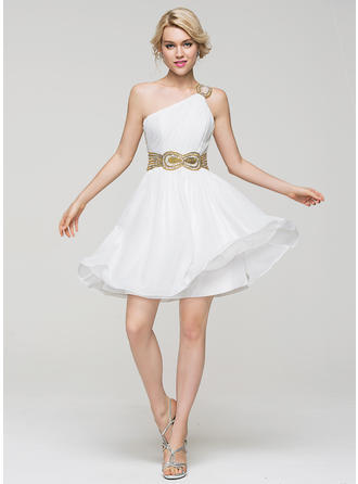Chiffon Regular Straps A-Line/Princess One-Shoulder Homecoming Dresses