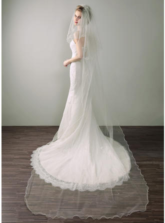 Chapel Bridal Veils Tissue Two-tier Oval With Scalloped Edge Wedding Veils