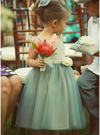 Square Neckline A-Line/Princess Flower Girl Dresses Flower(s) Sleeveless Tea-length
