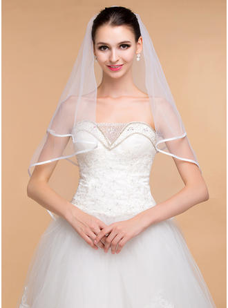 One-tier Ribbon Edge Elbow Bridal Veils With Ribbon