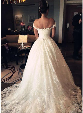Ball-Gown Off-The-Shoulder Floor-Length Court Train Wedding Dress With Lace Sequins
