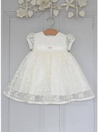 Scoop Neck A-Line/Princess Flower Girl Dresses Tulle/Lace Lace Short Sleeves Knee-length (010216579)