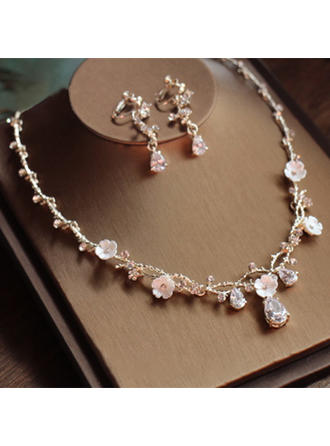 Jewelry Sets Alloy/Rhinestones/Zircon Earclip Ladies' Beautiful Wedding & Party Jewelry