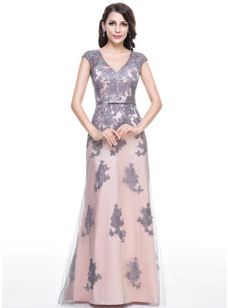 Trumpet/Mermaid V-neck Floor-Length Evening Dresses With Beading Appliques Lace Sequins Bow(s)