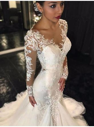 Simple Chapel Train Trumpet/Mermaid Wedding Dresses V-neck Tulle Long Sleeves (002144830)