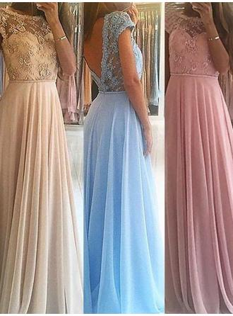 A-Line/Princess Chiffon Princess Floor-Length Scoop Neck Sleeveless