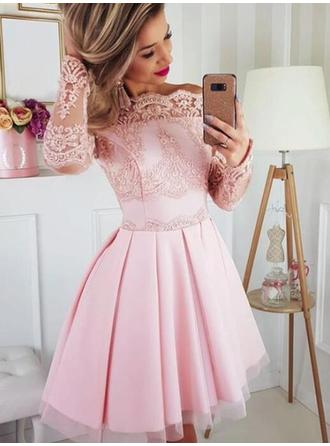 Renda Off-the-ombro com Cetim Tule Vestidos de cocktail