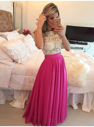 Floor-Length A-Line/Princess Elegant Chiffon Evening Dresses