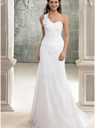 A-Line/Princess One Shoulder Sweep Train Wedding Dress With Beading Flower(s)