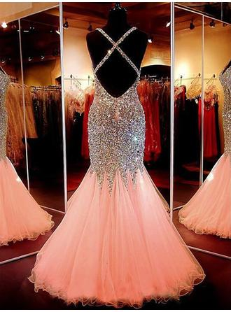 pastel pink mermaid prom dresses