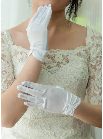 Satin Ladies' Gloves Wrist Length Bridal Gloves Fingertips Gloves