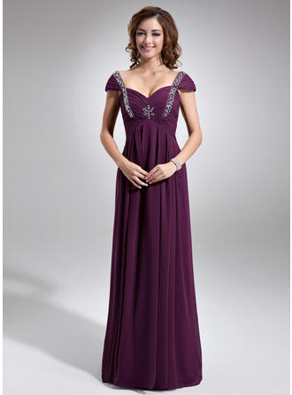 Empire Sweetheart Chiffon Sleeveless Floor-Length Ruffle Beading Mother of the Bride Dresses