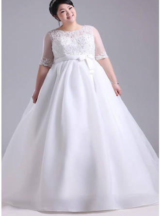 A-Line/Princess Scoop Floor-Length Wedding Dress With Lace Beading Appliques Lace Bow(s)