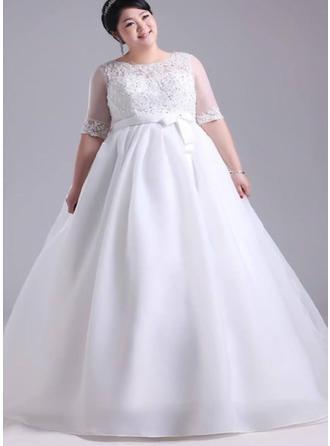 A-linjeformat Scoop / Djup Och Vid Halsringning Golvlång Bröllopsklänning med Spets Beading Applikationer Spetsar Rosett/-er